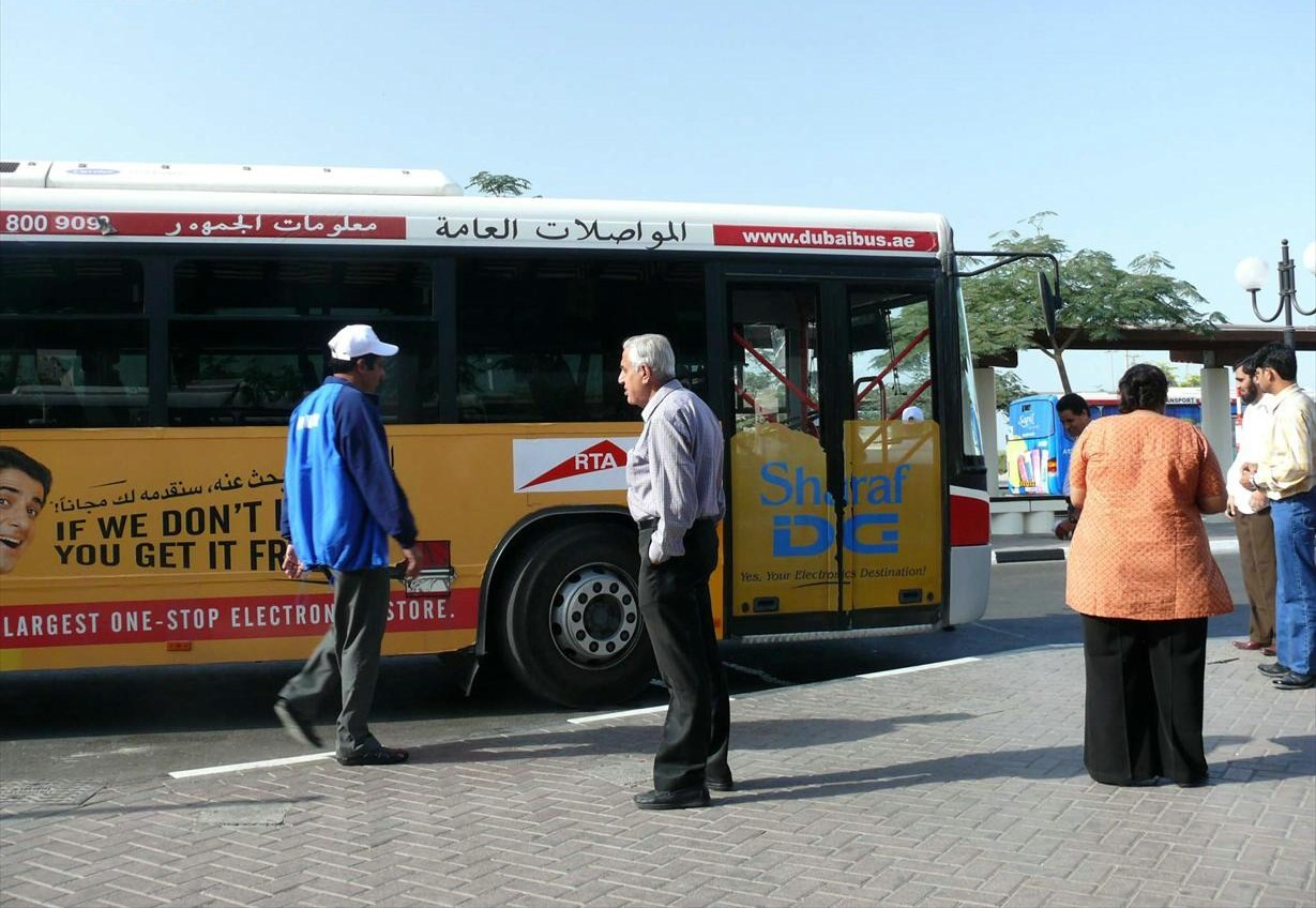 This is a photo of a Dubai Bus, sitting in the Deira Bus Station in Deira in Dubai, United Arab Emirates, on 26 December 2007.