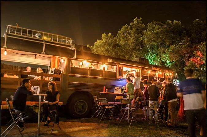 Enjoy street food outdoors at Truckers