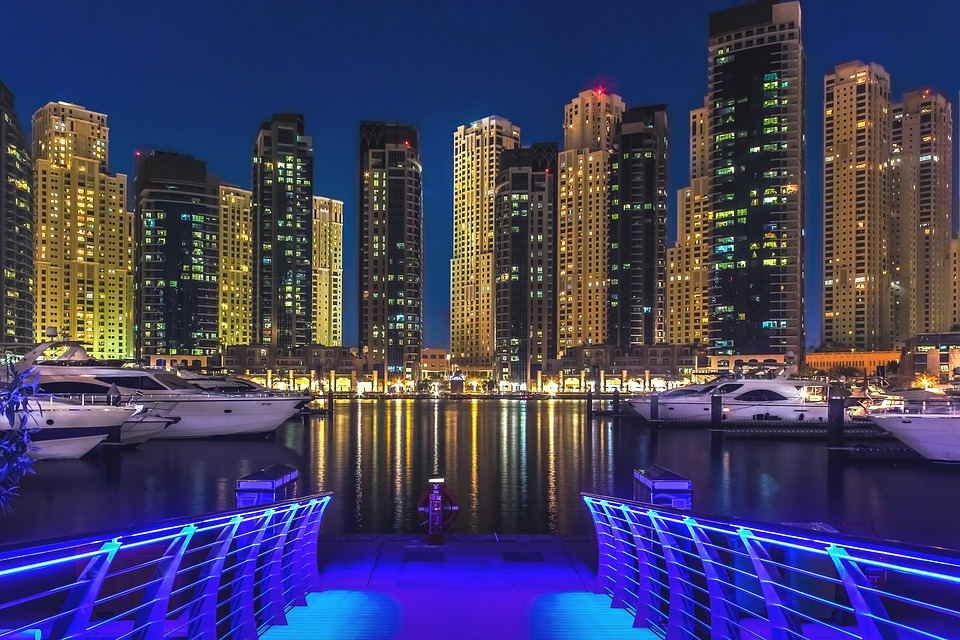 Dubai Marina at night.
