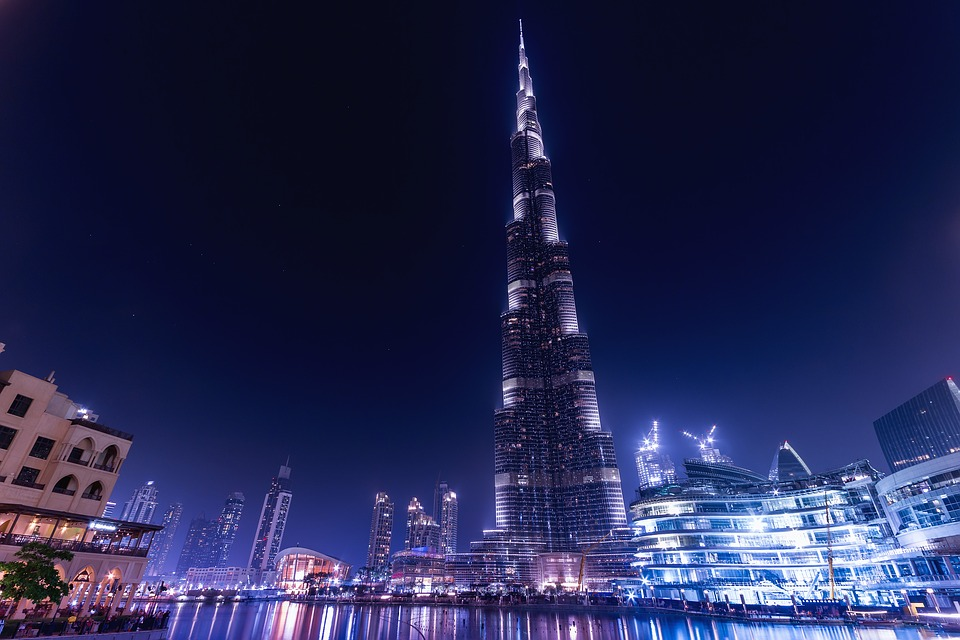 Burj Khalifa at night, Dubai.